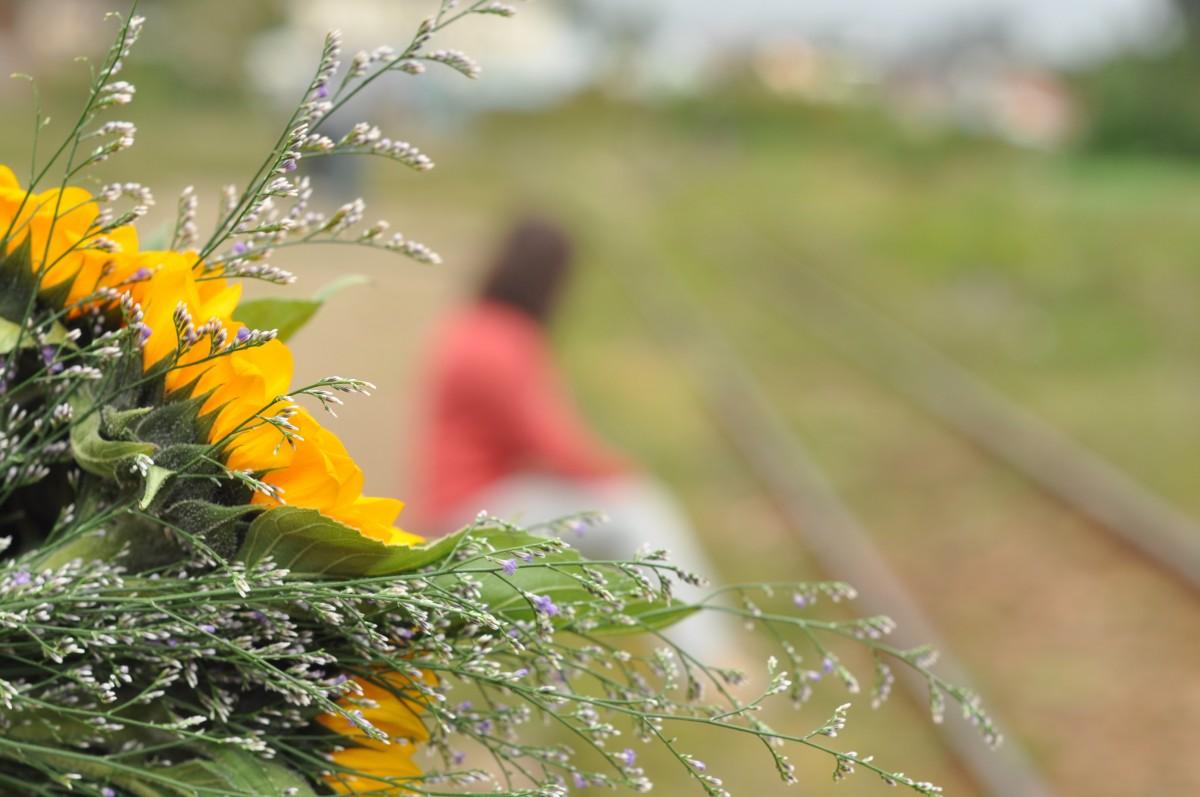flower blur person