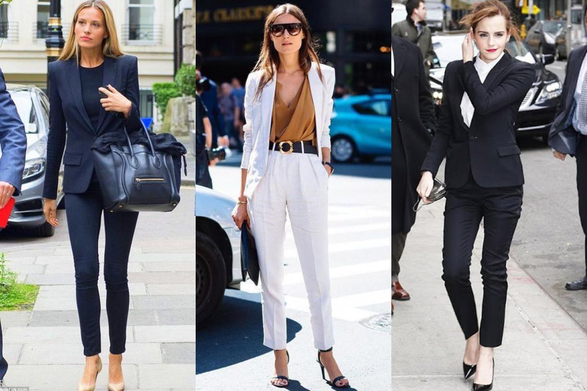 搭配 9 分褲,露出一小截腿看起來比例好,配上高跟鞋更是加分。