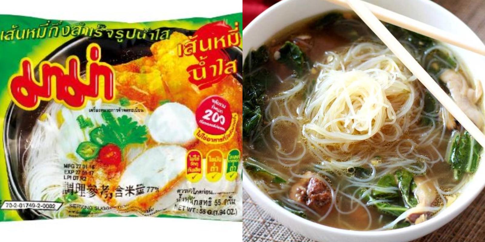 這款MAMA清湯味米粉口感較為清淡,可以加點香菜、洋蔥、丸子,整碗泡麵更為豐富。