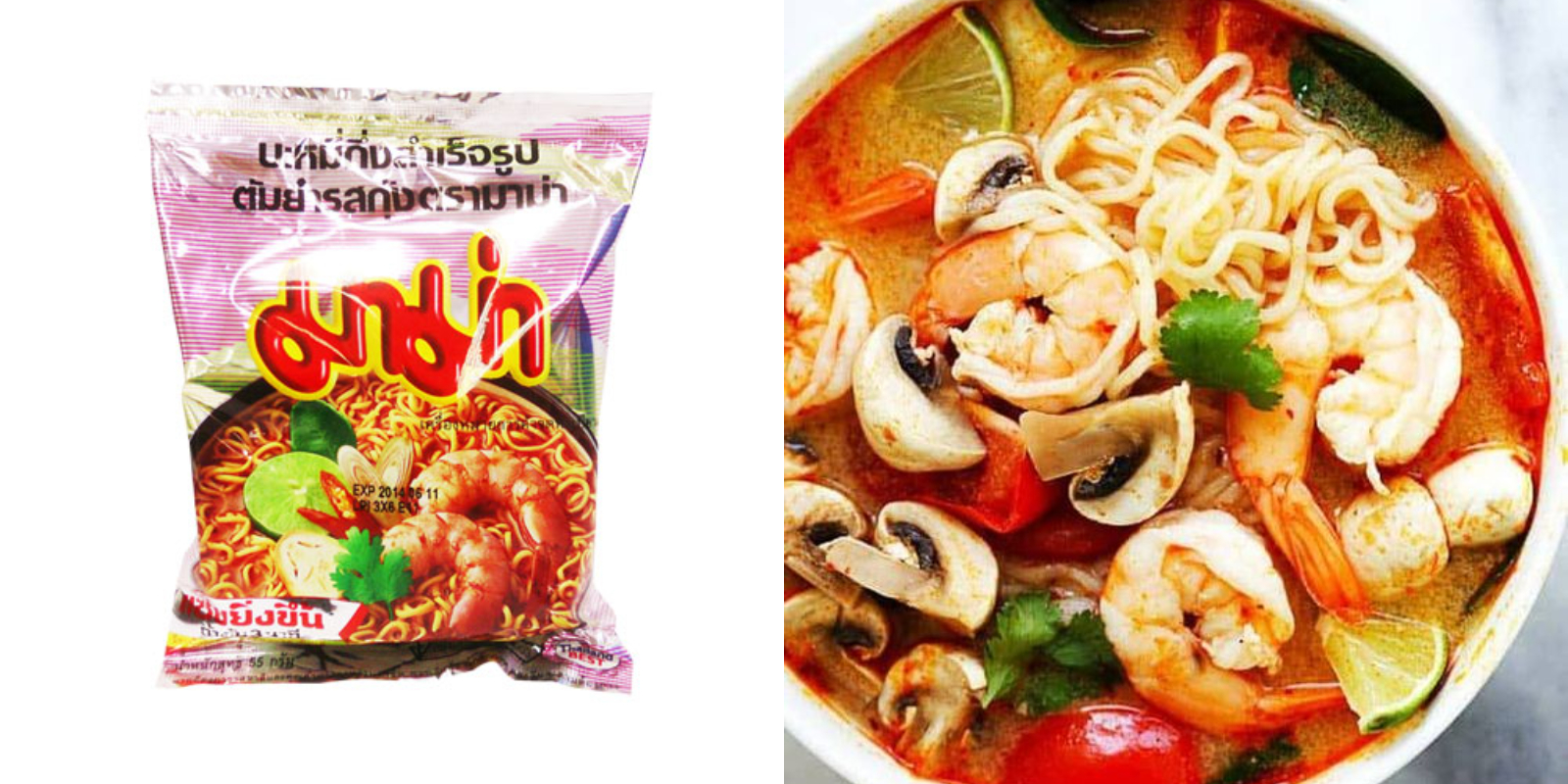 這款MAMA蝦味麵帶點微酸、辣、和海鮮味,是泰國泡麵的基本入門款。
