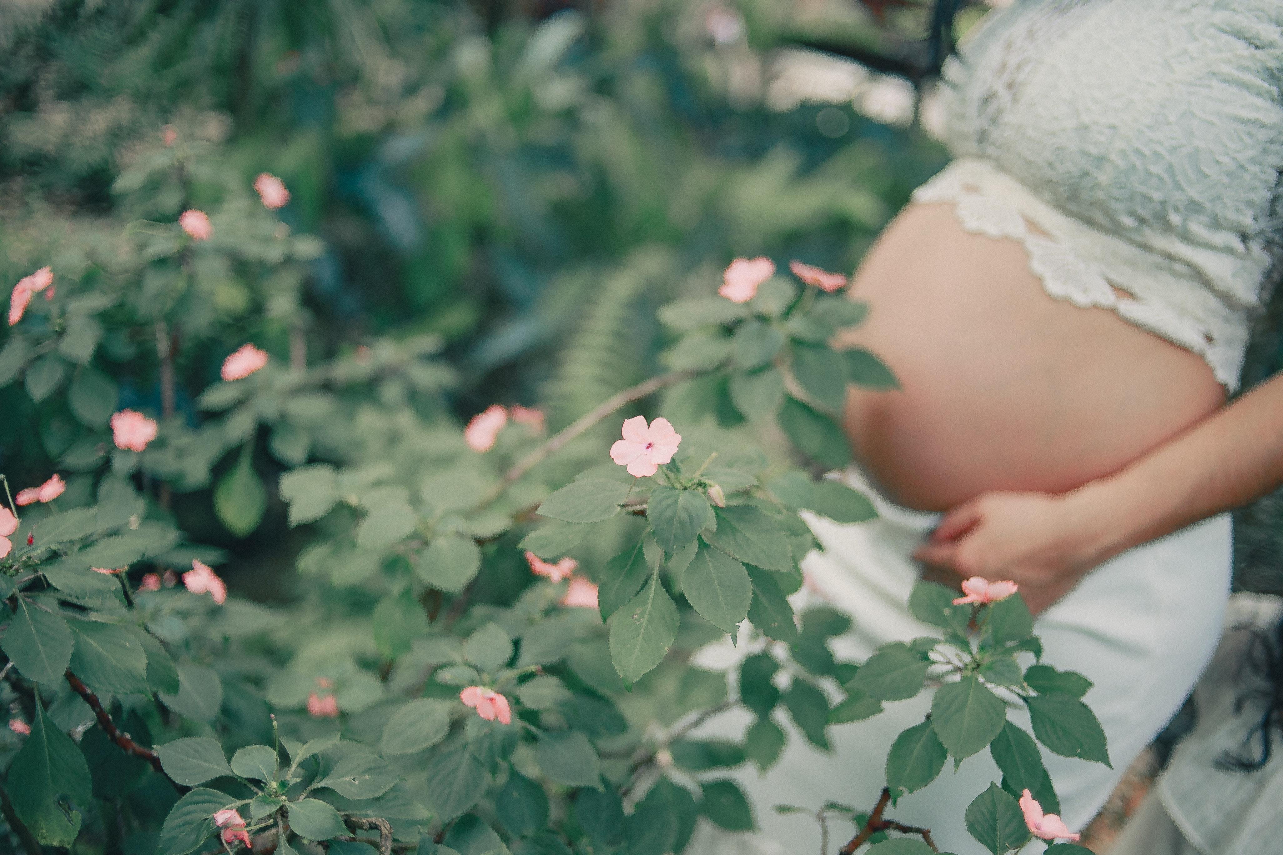 pregnant-standing-near-the-flower-2100340
