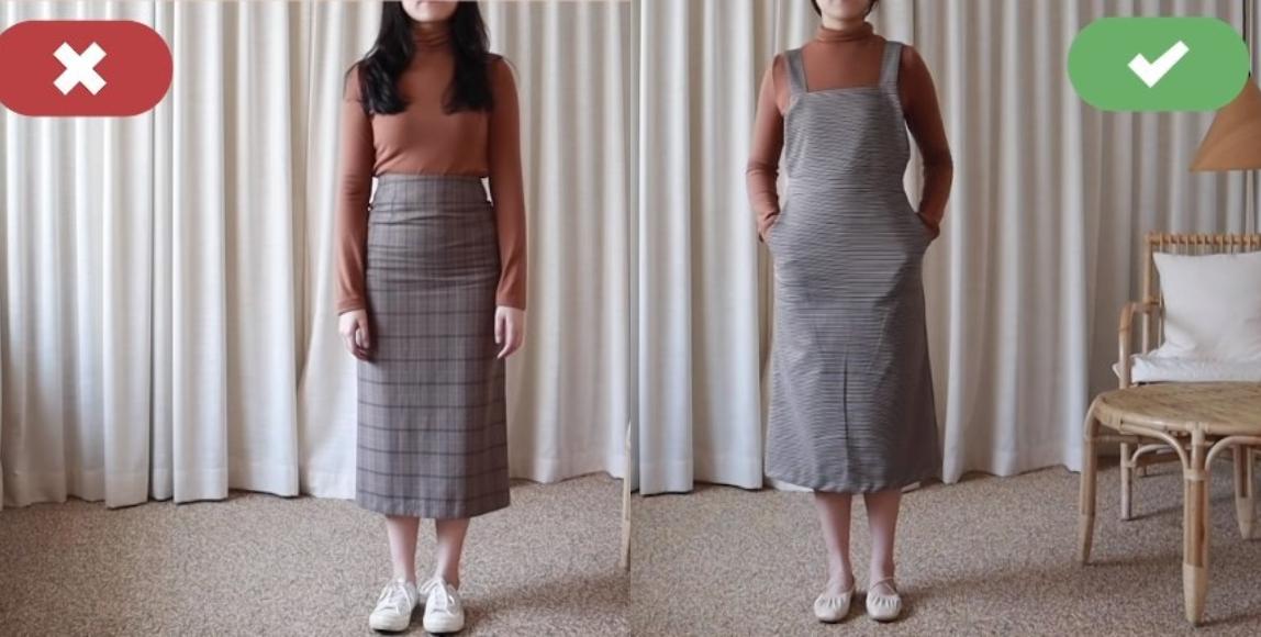 有小腹的女生下半身一樣要避開緊身裙子,而傘型、A 字型的裙子就很適合,最好就是有修腰效果的褲子或者是連身裙,加以突顯腰線。