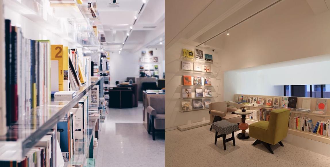 空間設計本身充滿了許多密碼與巧思,設計傢俱的配置也富有細節,除了眾多建築藝術選書,書店自身即是值得閱讀的內容。
